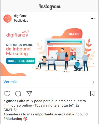 ejemplo de anuncios en instagram con poco texto en el copy